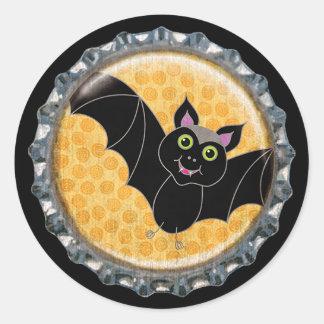 Halloween-Schläger mit Mond-Flaschenkapsel Runder Aufkleber