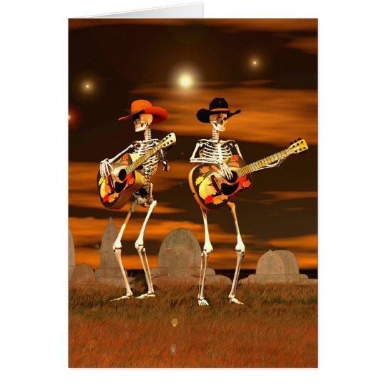 Halloween-Skelett-Konzert Grußkarte