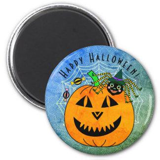 Halloween-Spinnen-Hexe und Kürbis Runder Magnet 5,7 Cm
