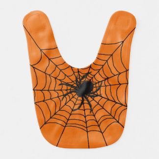 Halloween-Spinnen-Netz mit Spinne auf Orange Babylätzchen