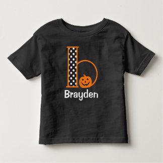 Halloween-T-Shirt w Kürbis-Monogramm-Initiale b Kleinkind T-shirt