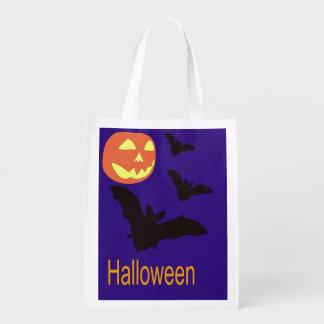 Halloween-Tasche mit Schlägern und einer Jack O Wiederverwendbare Einkaufstasche