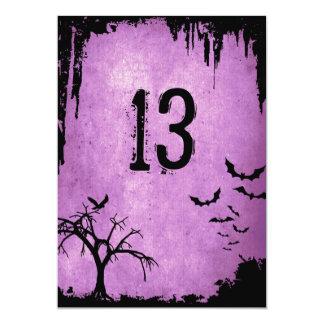 Halloween-Tischnummern mit Schlägern, Krähe und Karte