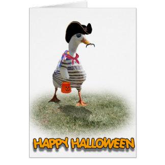 Halloween-Trick-oder Behandlungs-Piraten-Ente Karte