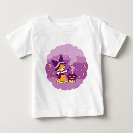 Halloweenfox-Hexe, die Süßigkeit zusammenruft Baby T-shirt