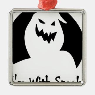 Halloweengesicht gespenstisch quadratisches silberfarbenes ornament