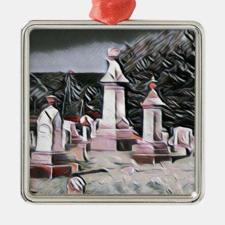 HalloweenGraveyard RIP Party-Versorgungen Quadratisches Silberfarbenes Ornament