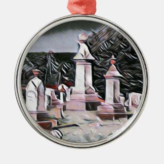 HalloweenGraveyard RIP Party-Versorgungen Rundes Silberfarbenes Ornament