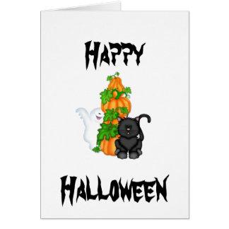 Halloweenkatze und -kürbise karte