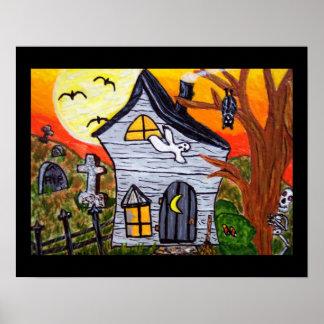 Halloweenvolkskunst-Spuk Haus-Szene Poster