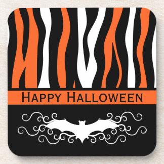 Halloweenzebramuster und Vampirsschlägerdekor Getränkeuntersetzer
