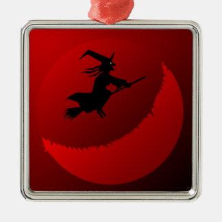 Hallowen Mond Quadratisches Silberfarbenes Ornament