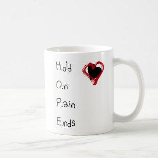 Halten Sie an den Schmerz-Enden Kaffeetasse