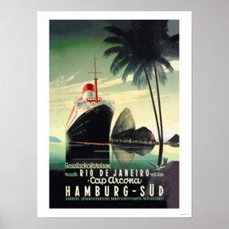 Hamburg zu Rio de Janeiro auf der Kappe Arcona Poster