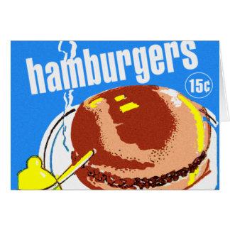 Hamburger-CheeseburgerVintage Kitsch-Anzeige Karte