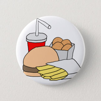 Hamburger, Fischrogen, Huhn-Nuggets und Soda Runder Button 5,1 Cm