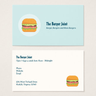 Hamburger-Illustration mit Tomate und Kopfsalat Visitenkarte