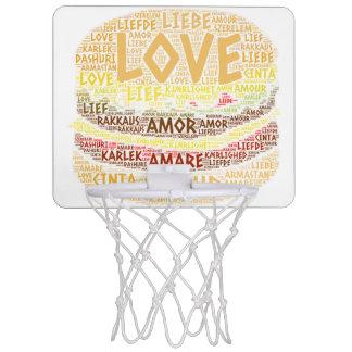 Hamburger illustriert mit Liebe-Wort Mini Basketball Netz