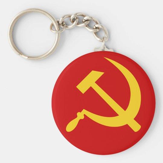 Hammer u. Sichel (gelbes) keychain Standard Runder Schlüsselanhänger