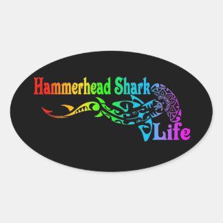 Hammerhai-Leben Ovaler Aufkleber