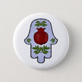 Hamsa, Granatapfel, hellblau, Buntglas Zazz Runder Button 5,7 Cm