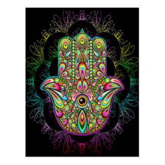 Hamsa Handpsychedelische Kunst Postkarte