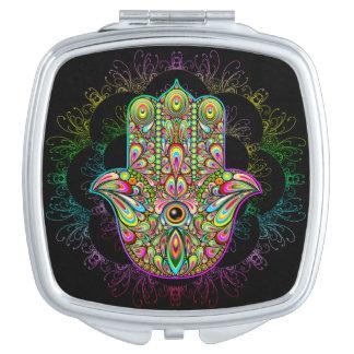 Hamsa Handpsychedelischer quadratischer kompakter Taschenspiegel