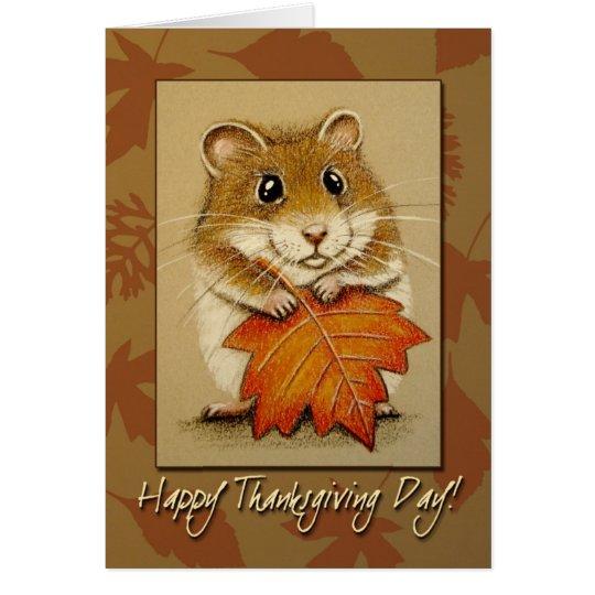 Hamster u. Herbst-Blatt - Erntedank-Karte Grußkarte