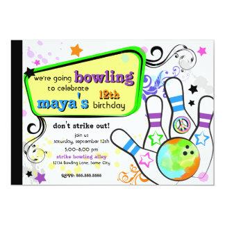 Hanche et invitation colorée de bowling