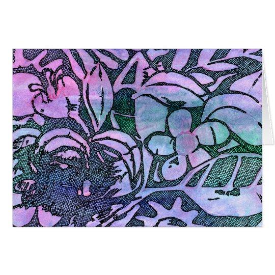 Hand geschnitztes Blätter und Blumen - im rosa Mitteilungskarte