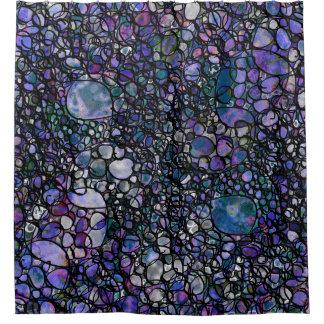 Hand-Gezeichnete abstrakte Kreise, Blau, lila, Duschvorhang