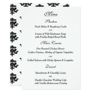 Hand gezeichnete Damast-Hochzeits-Menü-Karte 12,7 X 17,8 Cm Einladungskarte