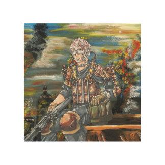 Hand gezeichnete futuristischer Soldat-hölzerne Holzwanddeko