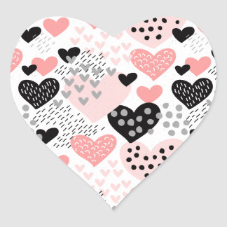Hand gezeichnete Herzen und Punkt-Muster ID471 Herz-Aufkleber
