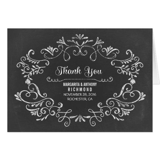 Hand gezeichnete Tafelhochzeit danken Ihnen Karten