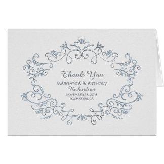 Hand gezeichnete weiße Hochzeit danken Ihnen Mitteilungskarte