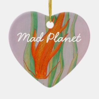 Hand gezeichneter Koi Karpfen Keramik Herz-Ornament