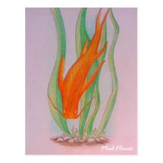 Hand gezeichneter Koi Karpfen Postkarte