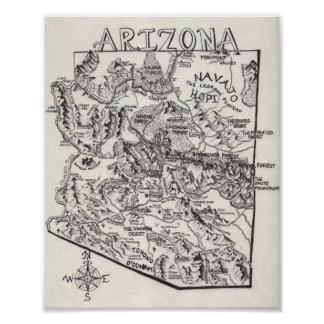 Hand gezeichnetes Plakat Arizona-Karten-|