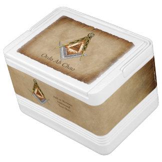 Hand gezeichnetes Quadrat und Kompass mit allem Igloo Kühlbox