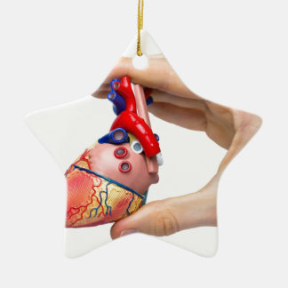 Hand hält vorbildliches menschliches Herz zwischen Keramik Ornament