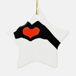 Hand heart2 keramik Stern-Ornament