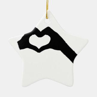 Hand heart3 keramik Stern-Ornament