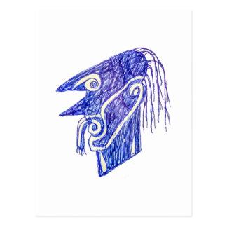 Hand zeichnen Monster-Porträt Ilustration Postkarte
