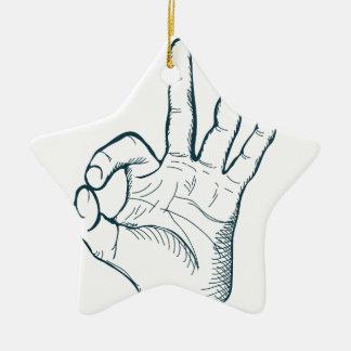 Hand zeichnen Vintages okay Zeichen der Skizze Keramik Stern-Ornament