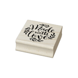 Handbeschriftung gemacht mit Liebe-BlätterWreath Gummistempel