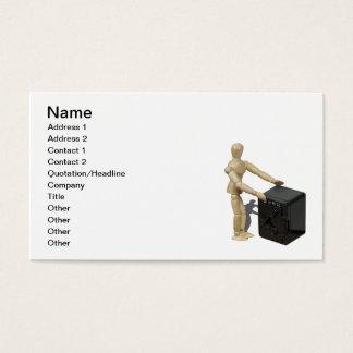 Hände auf Banktresor Visitenkarte