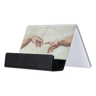 Hände des Gottes und des Adams Schreibtisch-Visitenkartenhalter