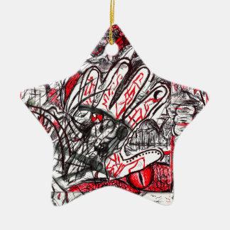 Hände des Raserei-Stift-Zeichnens Keramik Stern-Ornament