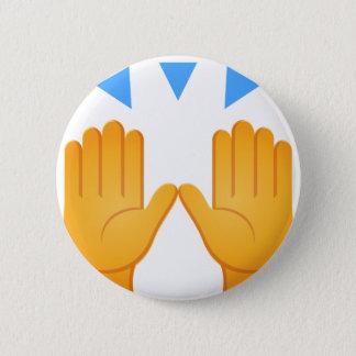 Hände hoben Emoji an Runder Button 5,1 Cm